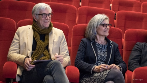 Yannick Lemarié, président d'Atmosphères 53, et Régine Catin représentant la Région Pays-de-la-Loire.